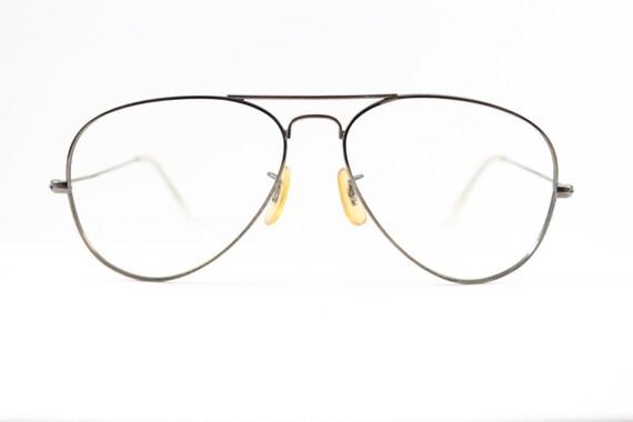 Vintage 1980s Bronze Metal Aviator Eyeglass Frame Hayate