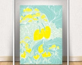 Mint Spring Print / Green and canary yellow floral poster / Floral wall decor