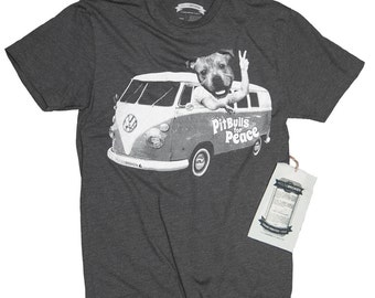 Pitbull Shirt -  Men's Funny Tshirt- Pitbulls for Peace Tee in Sizes Small to XXXL