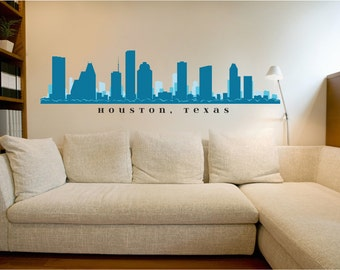 Houston texas skyline wall decal art vinyl removable peel for Real estate office wall decor