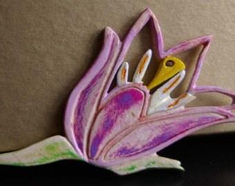 Handcrafted Wood Tulip Brooch -  OOAK