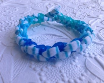 Original Rainbow Loom Yarn Bracelet Style #2 - Ocean for Sue