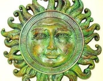 Celestial Sun Sculpture Wall Plaque Home Garden Decor