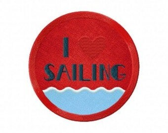 I Heart Sailing Includes Both Applique and Stitched