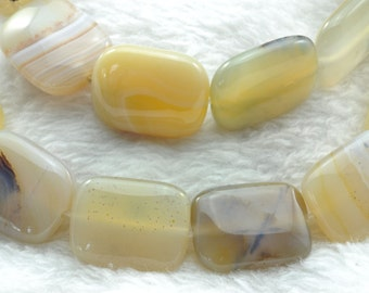 Natural Agate smooth rectangle beads 15x20mm,19 pcs