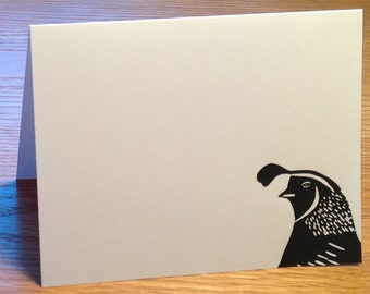 Quail linocut block print card