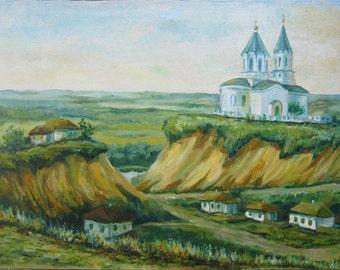 Picture The Old City  Art Original Oil Landscape Painting