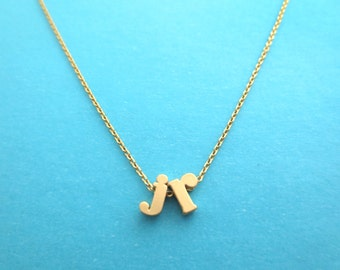 Personalized, 2 Small letters, Initials, Gold, Silver, Necklace, Lower case, Custom, Letter, Initial, Necklace, Birthday, Friendship, Gift