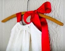 Ivory Eyelet Pillowcase Dress, Sun Dress, Ivory Eyelet Fabric and Ribbon Dress, Easter dress 6m, 12m, 18m, 24m, 2t, 3t, 4, 5, 6, 7, 8