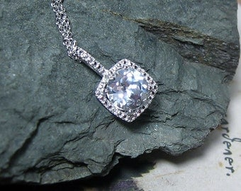White Sapphire Gemstone Diamond Pendant Sterling Silver Necklace