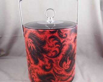 Vintage Ice Bucket Red Black Art Deco