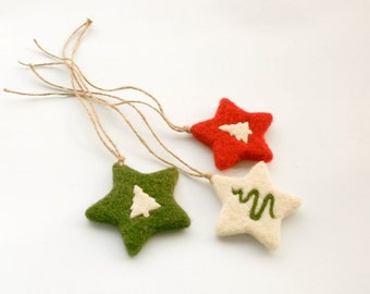 MADE TO ORDER, Needle Felted Christmas Stars, Felted Gift Tags, Christmas ornament, Tree ornament, Wool Soft Sculpture, Set of 3