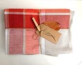 HALF PRICE SALE Autumn orange, red and grey vintage linen tablecloth