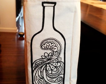Canvas Wine Tote: Paisley Wine Bottle Hand-Drawn on front