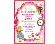 Alice in Wonderland  English Rose Baby shower invitation Chic Floral Baby girl rose Pink invite digital