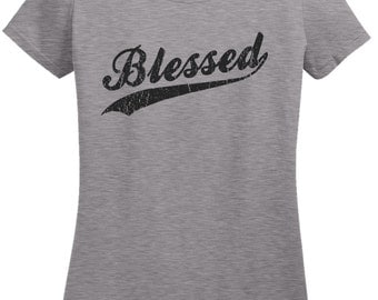 Ladies Distressed Blessed Christian T Shirt