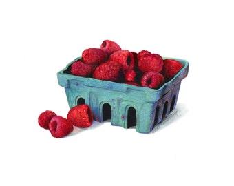 Farmer's Market Raspberries // Food Illustration // Art print, Farmhouse, Garden, Kitchen, Red, Realistic Art