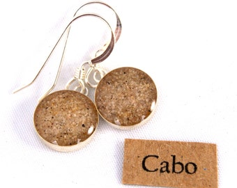 Cabo sand in sterling silver 10mm round earrings