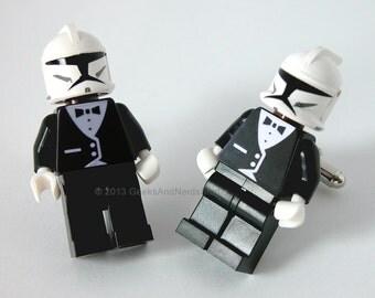 Best Man Gift - Groomsmen Gift - LEGO Star Wars Cufflinks - Clone Trooper with Black Tuxedo Cufflinks - Mens Cufflinks - Geek Wedding
