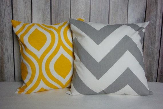 Yellow Pillow. Grey Pillow. Chevron Pillow. Accent Pillow. Modern Pillow.