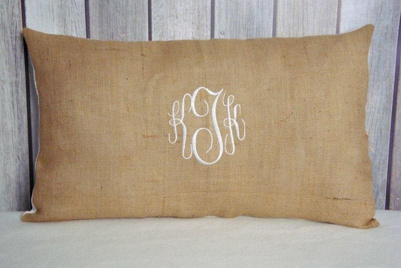 Shabby Chic Burlap Pillows : Burlap Pillow Cover. Shabby Chic Decor. Monogrammed by JRPillowCo
