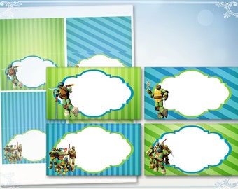 Ninja turtle Place cards Table cards Food cards Disney turtles Food tents Table tents