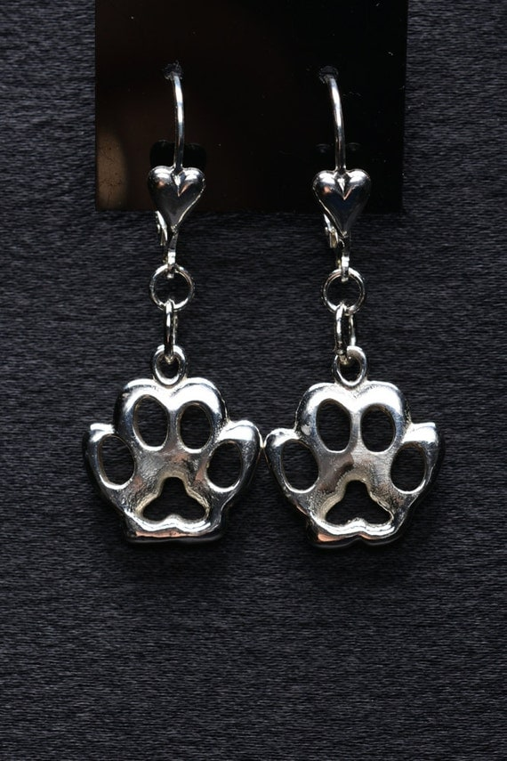 Silver Paw Cavachons: Sterling Silver Paw Print Earrings Of Dog Paw By Donna