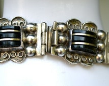 Sterling Silver and Onyx Mexican Bracelet Vintage by Far Fan