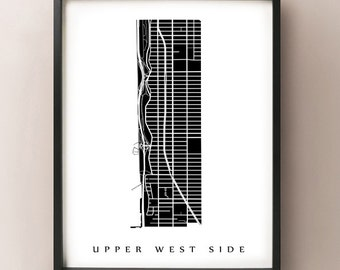 Upper West Side Map - Manhattan, NYC Neighborhood Art Print