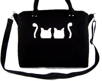 Cats handbag Felt purse Bag for women Black bag Felt bag Designer handbag Felt shoulder bag Modern