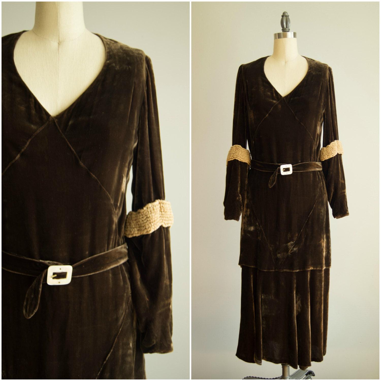 sale vintage 1920s dress 20s brown velvet dress