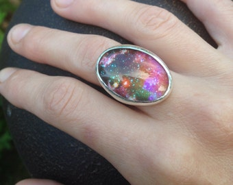 Rings,galactic,space,cosmos,sterling silver bezel ring,galaxy