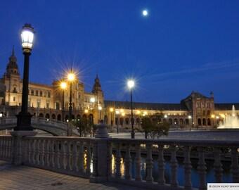 Plaza Espana, Seville at twilight. Fine art photographic print
