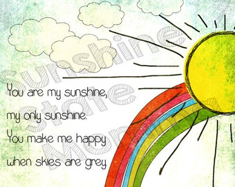 8x10 print landscape - digital image only - you are my sunshine