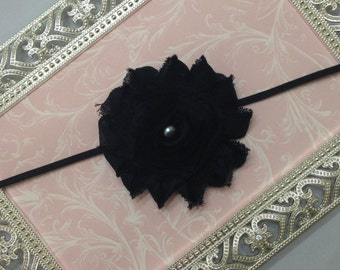 Baby Headband - Black Shabby Chic Flower Headband - Black Headband - Black Flower Headband - Toddler Headband - Photo Prop Headband