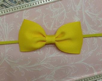 Baby Headband - Baby Bow Headband - Yellow Bow Headband - Yellow Baby Headband - Yellow Newborn Headband - Yellow Headband