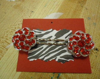 Red Sparkle Bobby Pins