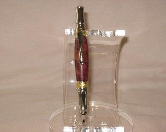 Nouveau Sceptre twist pen :  24Kt Gold & Chrome(Stabalized Red/Purple Box Elder Burl) (Includes a Felt-Lined  Leatherette pen  box)