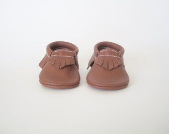 Butterscotch Brown Leather Baby Moccasin