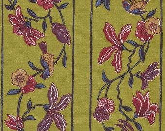 Dutch Chintz Border Fabric - Paradise Olive - half (1/2) yard
