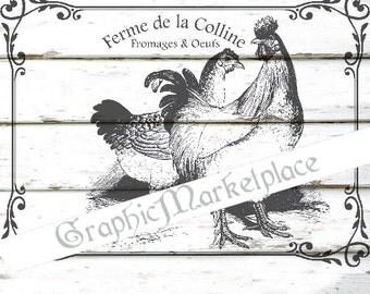 Farm Rooster Hen Ferme Vintage Shabby Transfer Instant download Burlap digital graphic printable No. 273