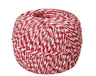 Red + White Bakers Twine, 500 yard spool
