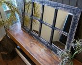 "37.5"" X 21.75""  Painted Barn Window Pane Mirror Homesteader Style"