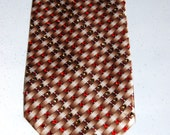 Brown, red and white rhinestone necktie