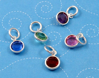 One Channel Set Birthstone Charm Add On, One Birthstone Charm