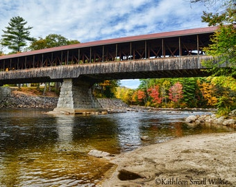 Covered Bridge in Autumn,New Hampshire,gift idea,fall foliage,colorful leaves,unique gift,covered bridge,New England,autumn photo,trending