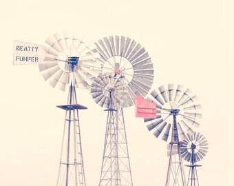 Windmills Photo, Western Decor, Country Decor, Western Wall Art, Vintage Feel, Cream, Red, Grey, Beatty Pumper 8x10 Photo Print