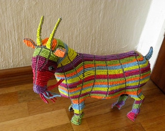 African Beaded Wire Animal  - GOAT SMALL - Rainbow
