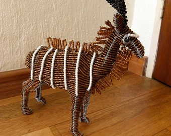 African Beaded Wire Animal  - KUDU SMALL - Natural