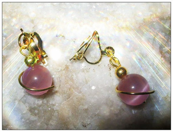 Handmade Gold Clip-On Earrings with Pink Cat Eye by IreneDesign2011